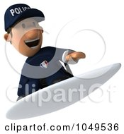 Royalty Free RF Clip Art Illustration Of A 3d Police Man Surfing 3