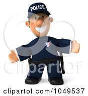 Royalty Free RF Clip Art Illustration Of A 3d Police Man Welcoming