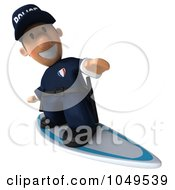 Royalty Free RF Clip Art Illustration Of A 3d Police Man Surfing 2