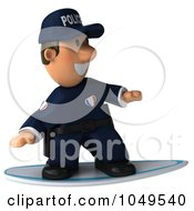 Royalty Free RF Clip Art Illustration Of A 3d Police Man Surfing 1