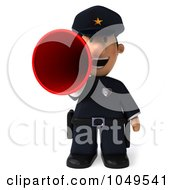 Royalty Free RF Clip Art Illustration Of A 3d Police Man Announcing by Julos