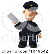 3d Police Man Facing Front With A Letter
