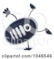 Royalty Free RF Clip Art Illustration Of A 3d Sneaker Shoe Character Doing A Cartwheel