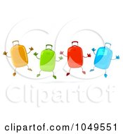 Royalty Free RF Clip Art Illustration Of 3d Colorful Rolling Suitcase Characters Jumping