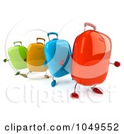 Royalty Free RF Clip Art Illustration Of 3d Colorful Rolling Suitcase Characters Walking