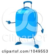 Royalty Free RF Clip Art Illustration Of A 3d Blue Rolling Suitcase Character Pointing