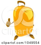 Royalty Free RF Clip Art Illustration Of A 3d Yellow Rolling Suitcase Character Holding A Thumb Up