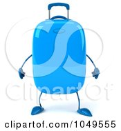 3d Blue Rolling Suitcase Character