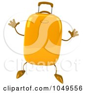 Royalty Free RF Clip Art Illustration Of A 3d Yellow Rolling Suitcase Character Jumping