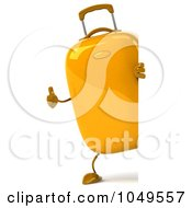 Royalty Free RF Clip Art Illustration Of A 3d Yellow Rolling Suitcase Character Around A Blank Sign