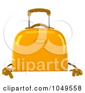 Royalty Free RF Clip Art Illustration Of A 3d Yellow Rolling Suitcase Character Over A Blank Sign