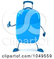 Royalty Free RF Clip Art Illustration Of A 3d Blue Rolling Suitcase Character Holding A Thumb Up