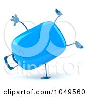 Royalty Free RF Clip Art Illustration Of A 3d Blue Rolling Suitcase Character Doing A Cartwheel