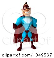Royalty Free RF Clip Art Illustration Of A 3d Super Dude Holding A Thumb Up And Facing Front