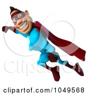 Royalty Free RF Clip Art Illustration Of A 3d Super Dude Flying by Julos