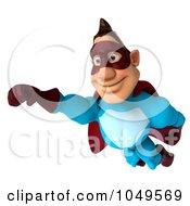 Royalty Free RF Clip Art Illustration Of A 3d Super Dude In Flight by Julos