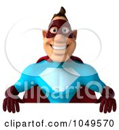 Royalty Free RF Clip Art Illustration Of A 3d Super Dude Holding A Blank Sign by Julos