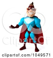 Royalty Free RF Clip Art Illustration Of A 3d Super Dude Gesturing by Julos