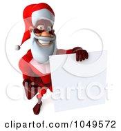 Royalty Free RF Clip Art Illustration Of A 3d Super Santa Holding A Blank Sign 1