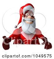 Royalty Free RF Clip Art Illustration Of A 3d Super Santa Holding A Blank Sign 2