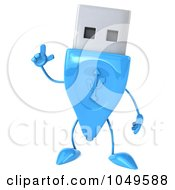 Royalty Free RF Clip Art Illustration Of A 3d Blue USB Flash Drive Character With An Idea