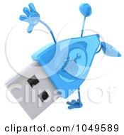 Royalty Free RF Clip Art Illustration Of A 3d Blue USB Flash Drive Character Doing A Cartwheel