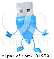 Royalty Free RF Clip Art Illustration Of A 3d Blue USB Flash Drive Character Gesturing