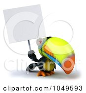 Royalty Free RF Clip Art Illustration Of A 3d Toucan Bird Holding A Sign Up
