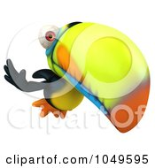 Royalty Free RF Clip Art Illustration Of A 3d Toucan Bird Waving And Flying