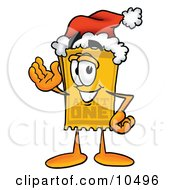 Clipart Picture Of A Yellow Admission Ticket Mascot Cartoon Character Wearing A Santa Hat And Waving