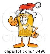 Yellow Admission Ticket Mascot Cartoon Character Wearing A Santa Hat And Waving