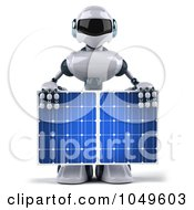 3d Techno Robot Holding A Solar Energy Panel - 3