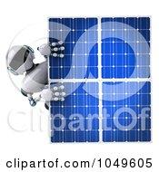 Royalty Free RF Clip Art Illustration Of A 3d Techno Robot Holding A Solar Energy Panel 2