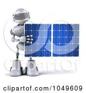 Royalty Free RF Clip Art Illustration Of A 3d Techno Robot Holding A Solar Energy Panel 1