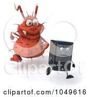 Royalty Free RF Clip Art Illustration Of A 3d Rodney Germ Character Chasing A Computer Tower