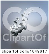 Royalty Free RF Clip Art Illustration Of A 3d Old Brain Crumbling And Floating Away