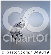 Royalty Free RF Clip Art Illustration Of A 3d Old Euro Crumbling And Floating Away