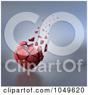 Royalty Free RF Clip Art Illustration Of A 3d Old Heart Crumbling And Floating Away