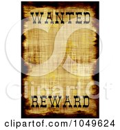 Royalty Free RF Clip Art Illustration Of A Vintage Wanted Poster With Copy Space And The Word Reward At The Bottom
