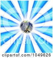Royalty Free RF Clip Art Illustration Of Planet Earth Glowing In A Blue Vortex