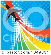 Royalty Free RF Clip Art Illustration Of A Silhouetted Plane Over A Rainbow Twist On Blue Halftone by Arena Creative