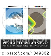 Royalty Free RF Clip Art Illustration Of A Grunge Stripes Postcard Template Set With Copy Space