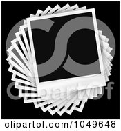 Royalty Free RF Clip Art Illustration Of Instant Film Photos Arranged In A Circular Pile Over A Black Background