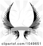 Royalty Free RF Clip Art Illustration Of Gothic Angel Wings With A Banner Over A Silver Rays