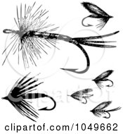 Digital Collage Of Black And White Retro Fly Fishing Hooks 2