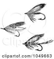 Digital Collage Of Black And White Retro Fly Fishing Hooks 1