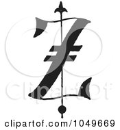 Black And White Old English Abc Letter Z by BestVector