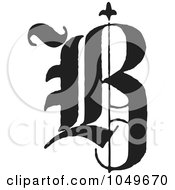 Royalty Free RF Clip Art Illustration Of A Black And White Calligraphy Abc Letter B