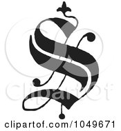 Royalty Free RF Clip Art Illustration Of A Black And White Old English Abc Letter S by BestVector