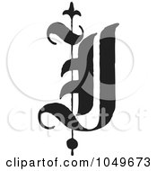 Black And White Old English Abc Letter J by BestVector